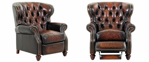 Arthur Chesterfield Leather Wingback Recliner Tufted Reclining Chair Recliner Recliner Chair Leather Recliner Chair