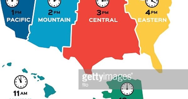 United States Time Zone Flat Design Concept Map Each Time Zone Is Time Zone Map Time Zones Design Us time zone worksheets