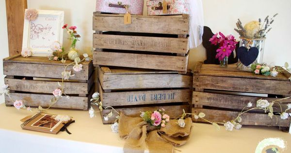 Rustic Wedding Gift Table Ideas : gift table decorations - rustic wedding wooden crates - hessian bow ...