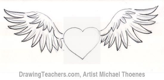 How To Draw A Heart With Wings Heart With Wings Tattoo Heart With Wings Angel Wings Heart Tattoo