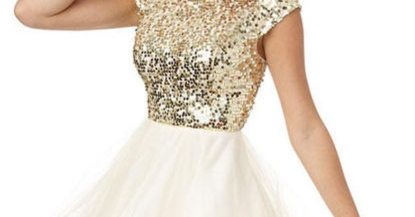 Cap Sleeve Sequin and Tulle Dress - Dresses - Clothing - dELiA*s