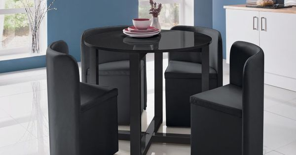 Buy Hygena Black Gloss Space Saver Table And 4 Chairs At
