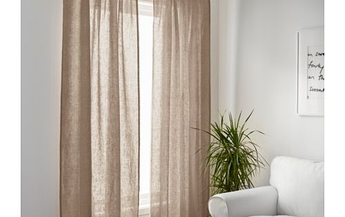 Curtains, 1 pair AINA Beige | Curtain rods, Linen curtains and ...