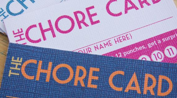 Chore punch card -- get a prize when you're done! Great idea