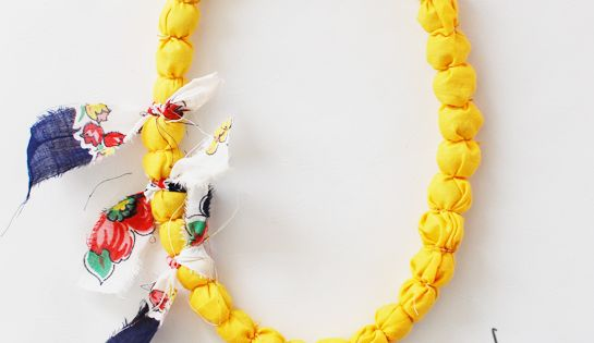 diy covered fabric bead necklace