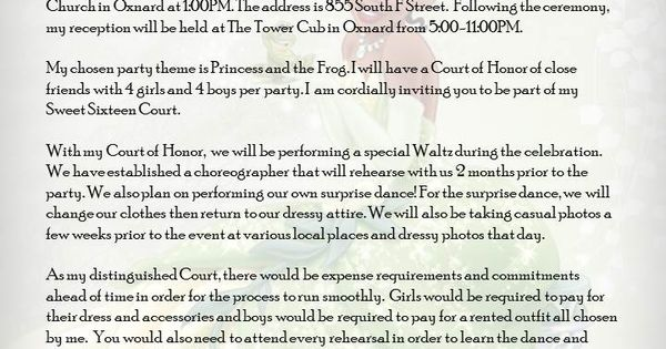 princess and the frog sweet 16 court of honor invite letter