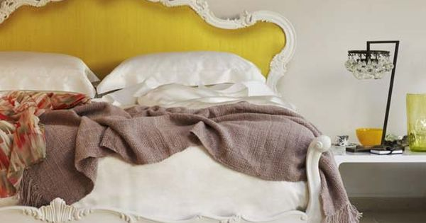 Gorgeous Head board, love the mustard yellow