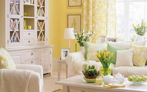 Sunshine Yellow Paint Color With Navy And Apple Green Accents Home Office Remodel