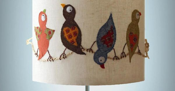 lampshade: felt bird applique