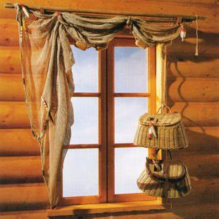 Fish Net Curtain And Fishing Rod Rustic Window Treatments Cabin Curtains Rustic Curtains