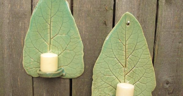 handbuilt tall leaf clay pottery wall hanging candle sconces holders in light green celadon. Black Bedroom Furniture Sets. Home Design Ideas