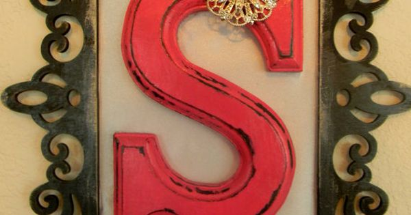Monogram Initial (wooden, any letter, any color) with a frame around it.