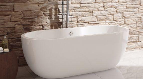 Super zo 39 n vrijstaand bad tegen een stenen muur de melissa ovaal vrijstaand bad 165 5 x 75 - Zwarte hoek bad ...
