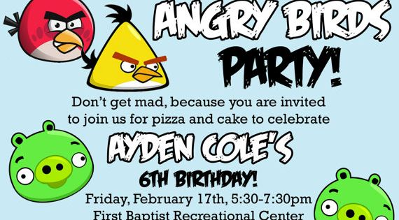 Angry Birds Birthday Invitation Free Printable Invitations Template Cards Birthday Party Invitation Templates Bird Birthday Invitations Party Invite Template