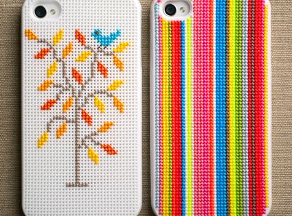 Cross stitch phone cover by Purl Bee
