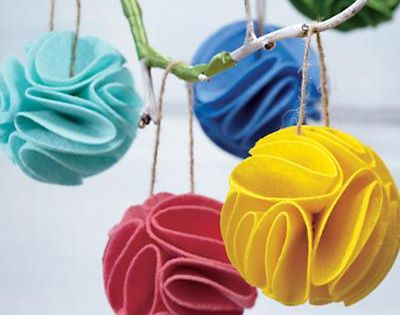 Kids Ornaments: Frilled Felt Ornaments - Grey Frilled Felt Ornament. Decorate your