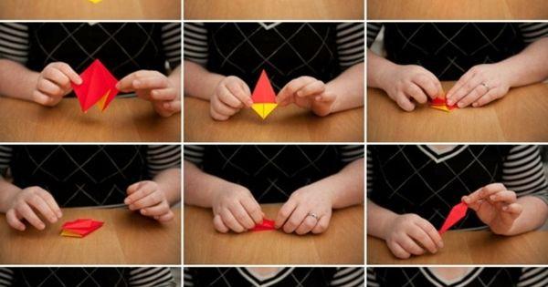 origami blume falten-anleitung-kinderzimmer deko idee | gefaltet, Schlafzimmer