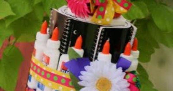 School supply cake tutorial cool teacher gift idea!