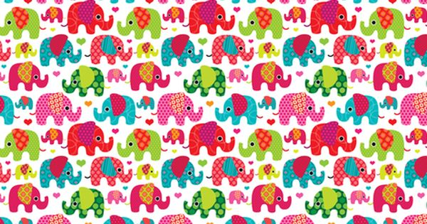 Retro kids indian elephant pattern fabric fabric by for Childrens elephant fabric