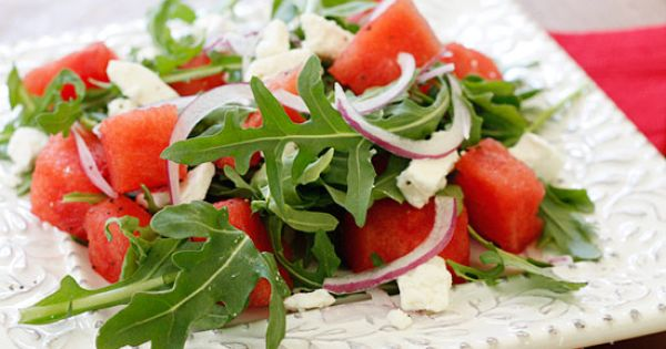 Watermelon Arugula and Feta Salad watermelon arugula feta food for health healthy