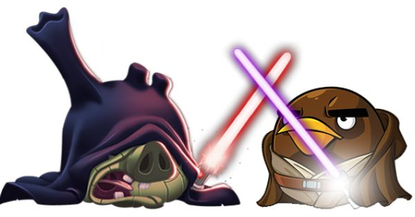Dual Between Emperor Palpatine And Mace Windu In Angry Birds Star