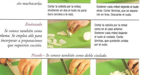 Cortes de cebolla t cnicas culinarias y utensilios de for Manual tecnicas culinarias
