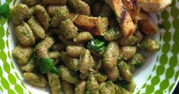 whole wheat cavatelli, with homemade basil pesto, grilled chicken ...