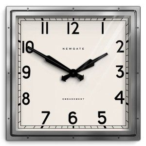 Industrial Square Wall Clock Silver Chrome Newgate Clocks Quad Newgate Clocks Square Clocks Wall Clock