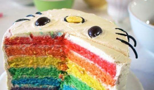 hello kitty rainbow cake.