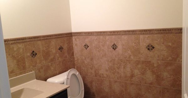 My Powder Room Tile Half Way Up The Wall With Diamond Cutouts And Mosaic Tiles Really Pretty