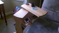Simple Side Stand With Swivel Top I Have A Friend That Has One Of Those Chairs That You Lay Back Into In Almost In A R Diy Side Table Diy