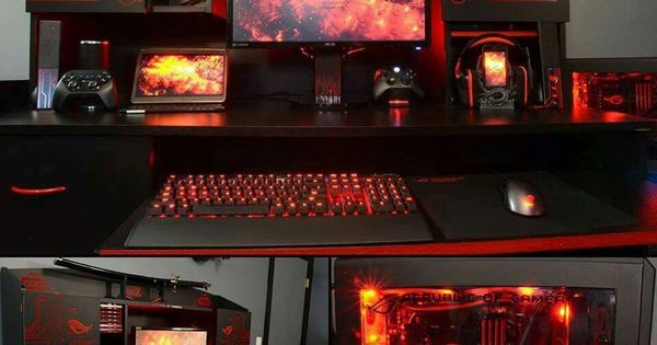 Futuristic Red Black Computer Desk Setup Gadgets