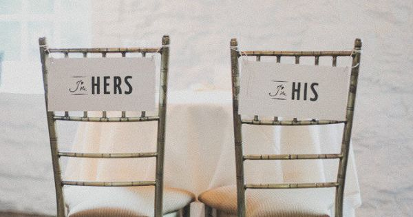 His and Hers Wedding Reception Chairs.... Party favours?