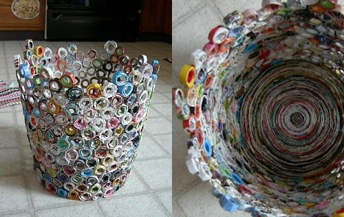 11. Trash Bin - 12 Fun Crafty Projects Using Newspapers and Magazines