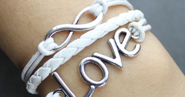 Silvery cross bracelet infinity karma bracelet wish bracelet white leather bracelet -N539