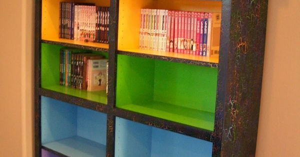 Colored Bookshelves..... Just cheap pine book cases,dark wood stain and rainbow paints!