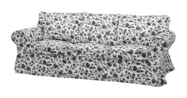 Ikea Ektorp Sofa 3 Seat Sofa Slipcover Hovby Black White Floral Pillow Covers Ikea Ektorp Sofa Cover Ektorp Sofa Bed White Sofa Bed