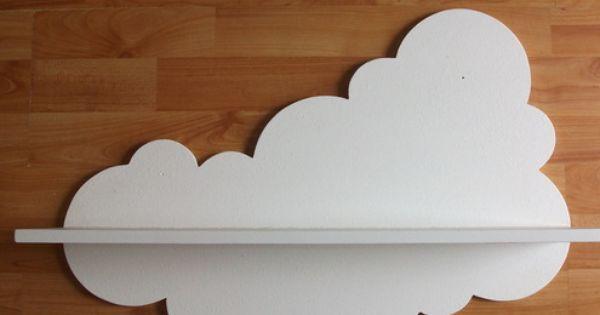 A cloud wall sticker an a simple white shelf?