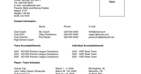 sample soccer resume
