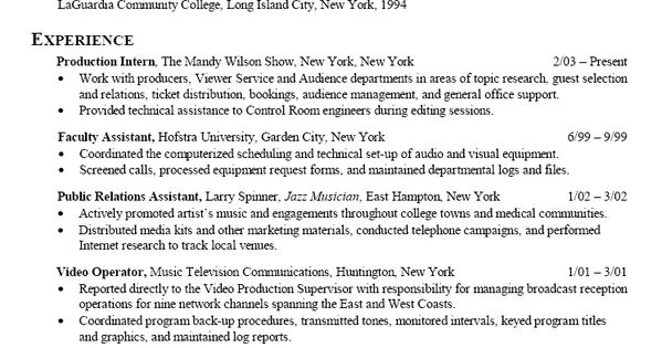 resume sample for communications broadcasting media