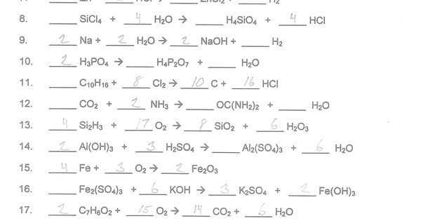 Balancing Chemical Equations Worksheet Answer Key | Printable World ...