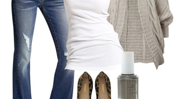Outfit: jeans, white tank, cozy gray sweater, animal flats, gray polish sparkly