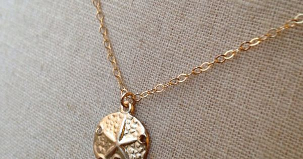 Sand dollar necklace gold sand dollar mermaid coin sand for Dollar jewelry and more