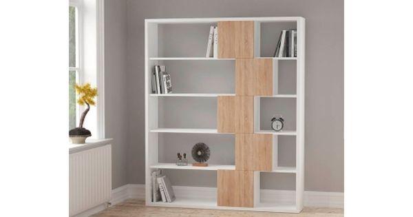 Bibliotheque Roscoetoo Br Blanc Et Imitation Chene Mobilier De Salon Salle De Bain Contemporaine Vente Privee