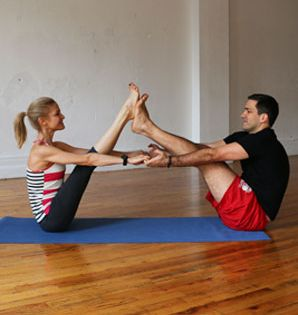 a couples yoga routine your guy will actually love hatha. Black Bedroom Furniture Sets. Home Design Ideas