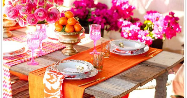 Dinner party perfection. DIY Moroccan-style table in pink + orange from CamilleStyles.com