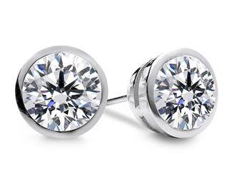 Bezel Diamond Stud Earrings In 14k White Gold 4 Ctw Bezel Set Diamond Earrings Diamond Earrings Studs Bezel Diamond Studs