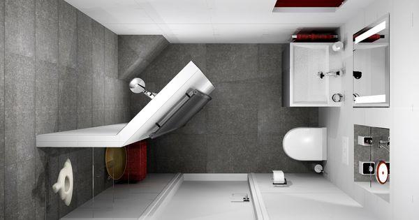 Kleine badkamer van 153x238cm met ingebouwde spiegelkast en inloopdouche sani bouw maakt gratis - Gemeubleerde salle de bains ontwerp ...