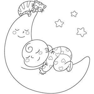 Bebe En La Luna Fullblock Bordered Jpg 300 300 Bebes Para Dibujar Paginas Para Colorear Dibujos Infantiles Para Bebes