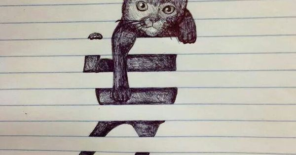 Cat Hanging On Paper Lines Drawing Drawing Pinterest